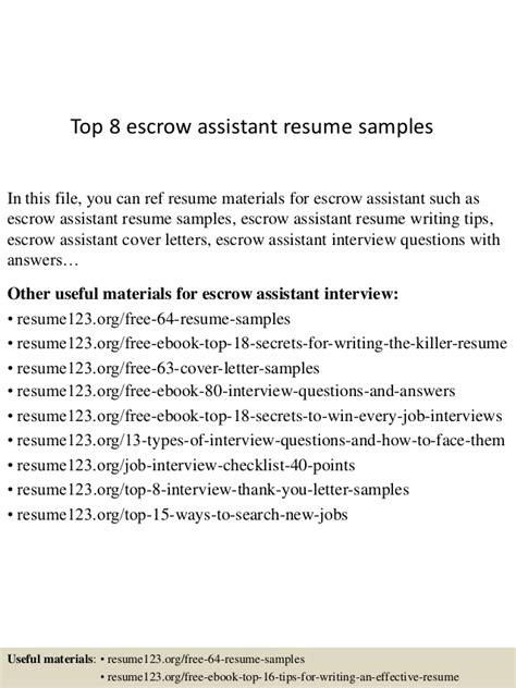 Rent Escrow Letter top 8 escrow assistant resume sles