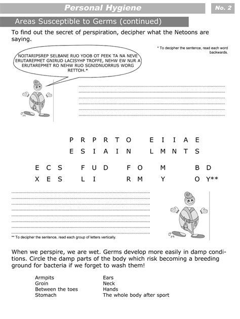Personal Hygiene Worksheets by Personal Hygiene Worksheets For Level 3 Personal