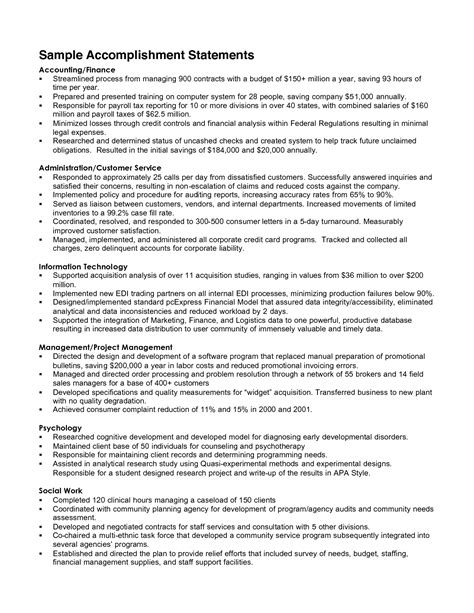 resume achievement statements exles accomplishment resume the best resume