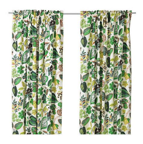 leaf curtains ikea ikea syssan curtains drapes green leaf modern retro linen