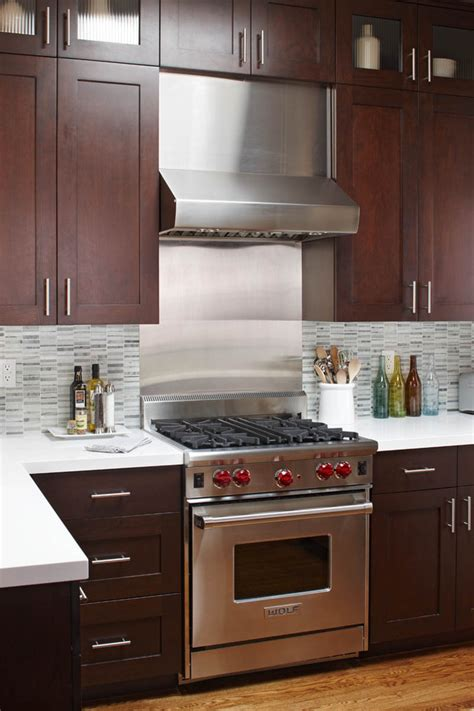 kitchen with stainless steel backsplash stainless steel backsplash tiles kitchen contemporary with