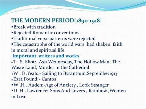 themes in modernist literature usually focused on ages of english literature