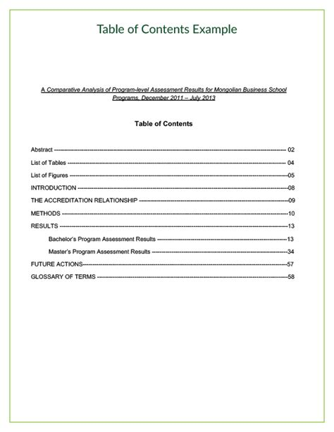 business report table of contents template module 6 section 2 anatomy of a technical report 10
