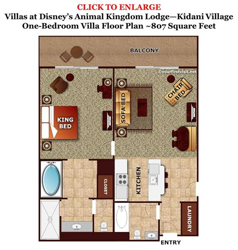 animal kingdom 2 bedroom villa floor plan sleeping space options and bed types at walt disney world