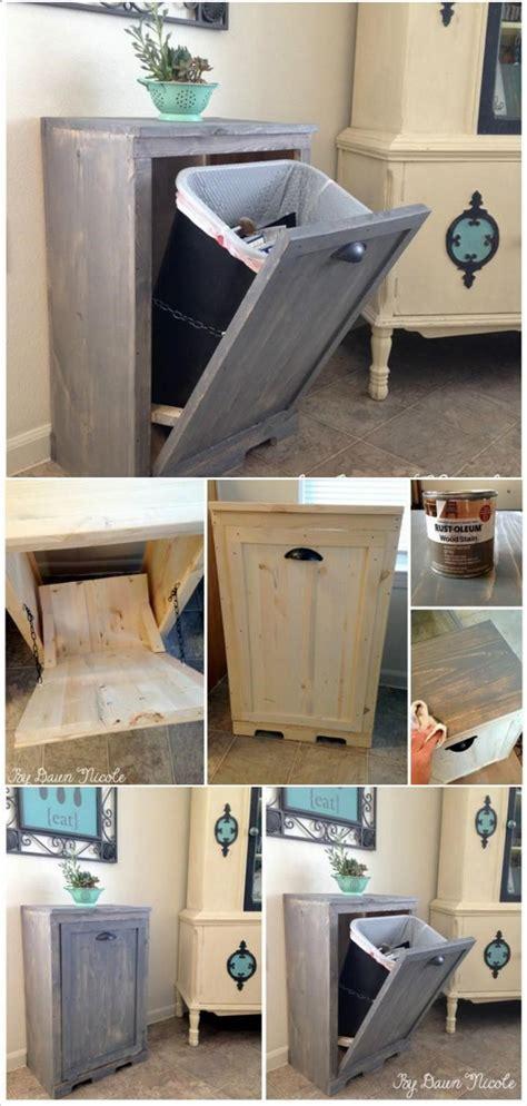 diy pallet trash can cabinet hand built wooden tilt out trash can cabinet 22 genius