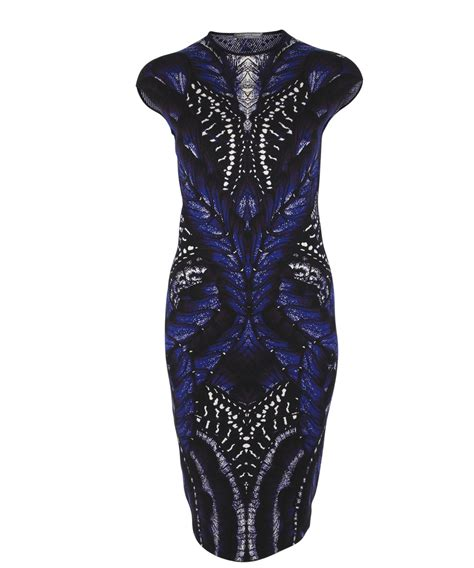 Mcqueen Butterfly Gown by Mcqueen Blue Butterfly Print Intarsia Pencil