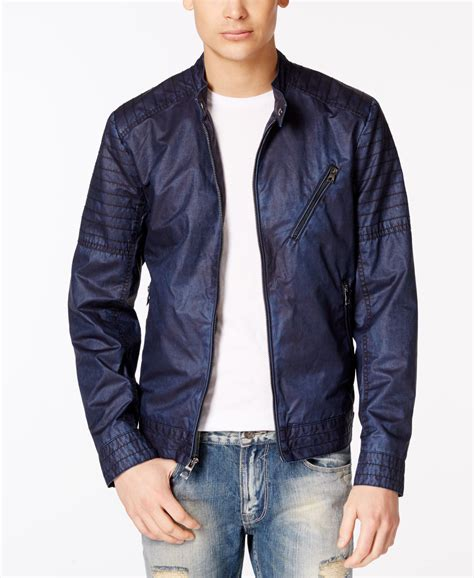 Quilted Moto Jacket S by Guess S Brayden Quilted Moto Jacket In Blue For Lyst