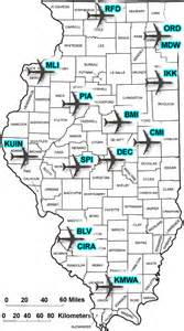 airports in map illinois airports and major usa airlines