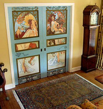 Painted Doors mother nature inspired doors painted art nouveau style by