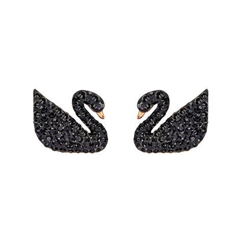 Anting Black Swan With Diamonds Line Earring swan earrings cde 925 sterling silver swan drop earrings for trendearrings
