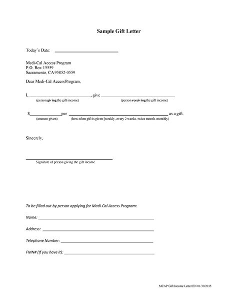 mortgage gift letter template addictionary