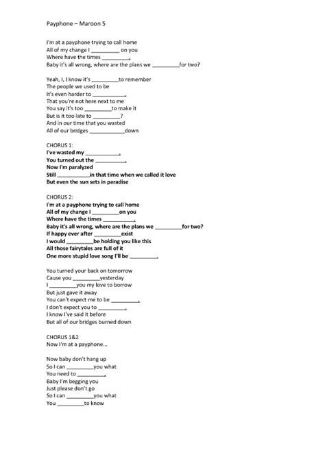 Song Worksheet: Payphone by Maroon 5