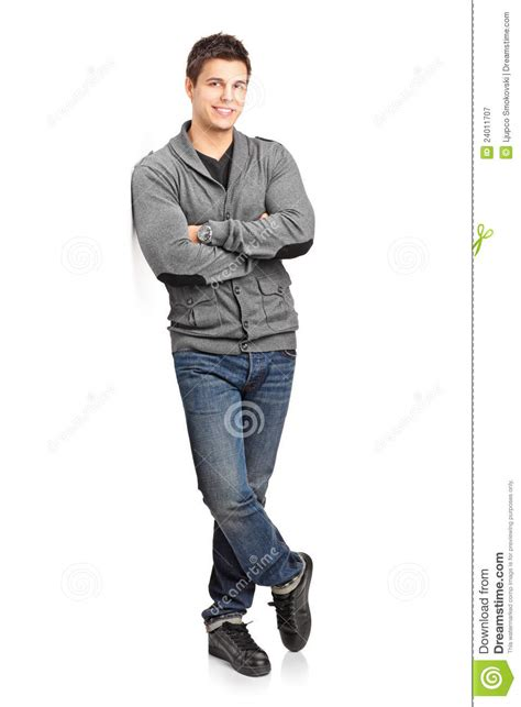 3d Wall Panel by Happy Young Man Leaning Against Wall Royalty Free Stock