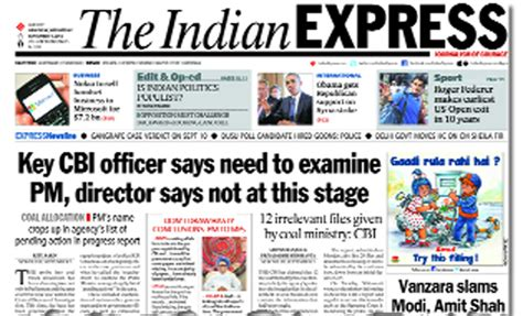layout of indian express newspaper bjp stokes coal fire wants pm to depose before cbi