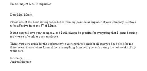 letter resignation email sample templates