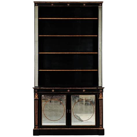 bookcase with mirror french neoclassical ebonised and gilded bookcase with
