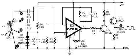 clock generator circuit diagram 1hz clock generator with chip on board cob circuit