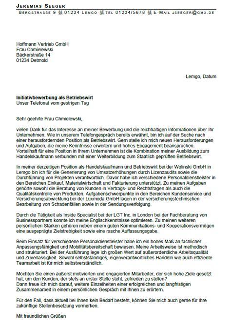 Bewerbung Initiativbewerbung Betriebswirt Bewerbung Betriebswirt Ungek 252 Ndigt Berufserfahrung Sofort
