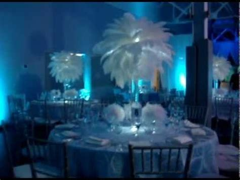 Winter Wonderland Themed White Ostrich feathers with mini feather balls by Sweet 16 Candelabras