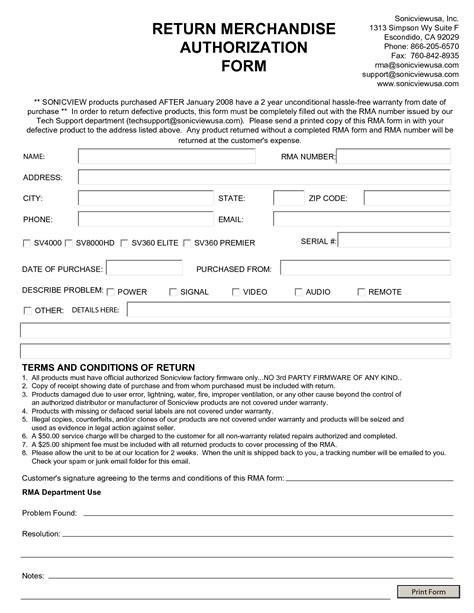 merchandise return form template best photos of return authorization form word return