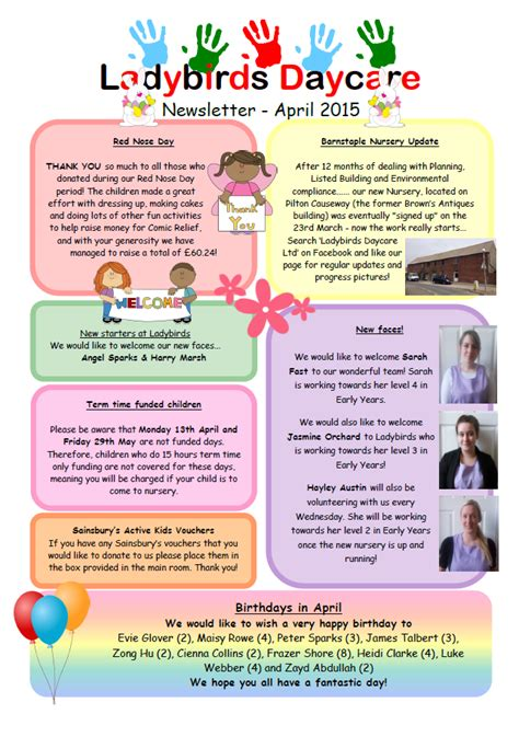 Past Newsletters Ladybirds Daycare Barnstaple Devon Daycare Newsletter Templates