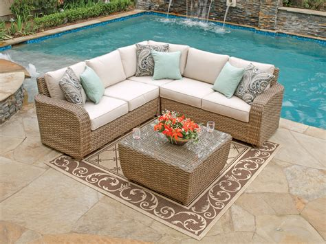 small sectional patio furniture biscayne sectional resin wicker furniture outdoor