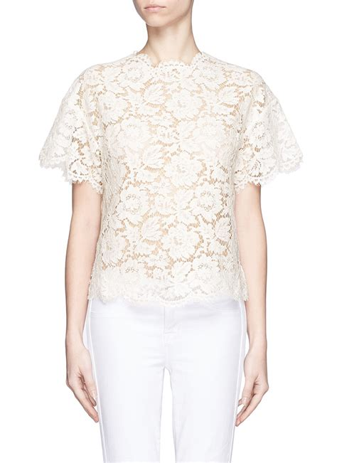 906 Pevita Back Lace Top lyst valentino guipure lace peplum back top in white