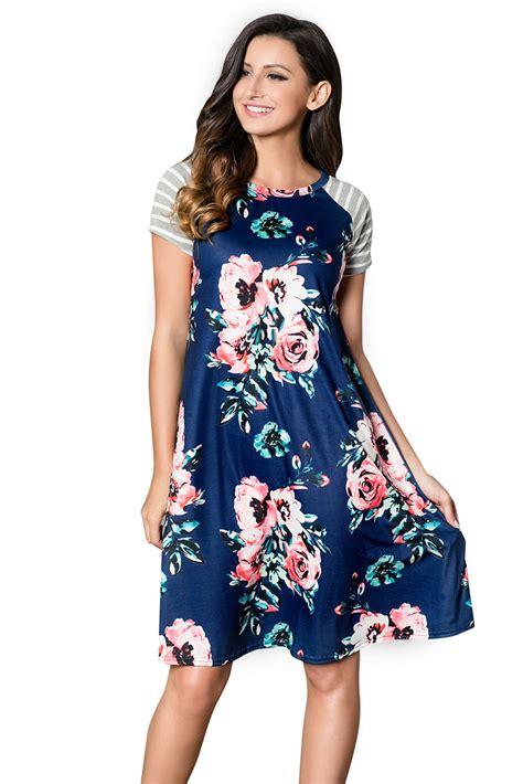 Print T Shirt A Line Dress by Navy Blue Backdrop Floral Print A Line T Shirt Dress