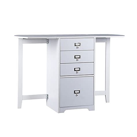 Southern Enterprises Fold Out Organizer And Craft Desk In White Craft Desk