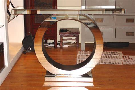 Art Deco Circle Mirrored Console Console Tables