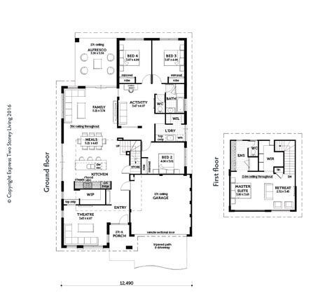 design a floor plan template introducing the entertainer by express two storey living