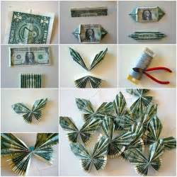 Butterfly Dollar Bill Origami - butterfly money paper folded paper wall decorations