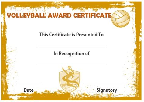 printable certificates for volleyball 25 volleyball certificate templates free printable