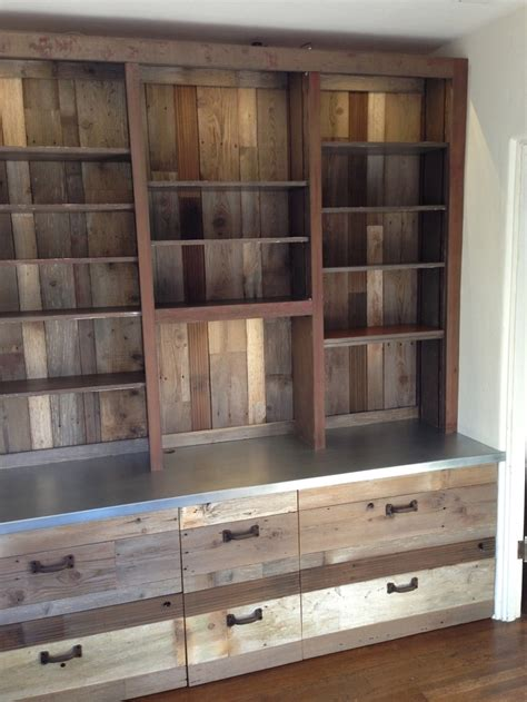 bookcase after entire bookcase covered in reclaimed