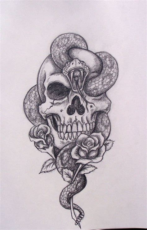 skull and black rose tattoo 30 snake skull tattoos design