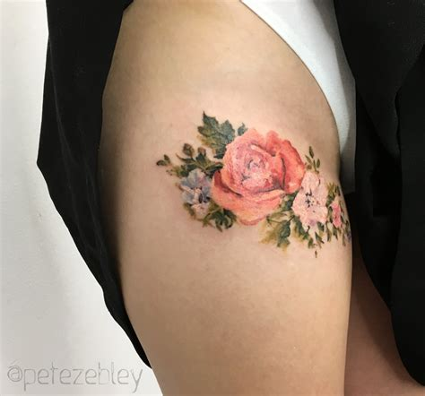 flower tattoo on thigh pete zebley tattoos