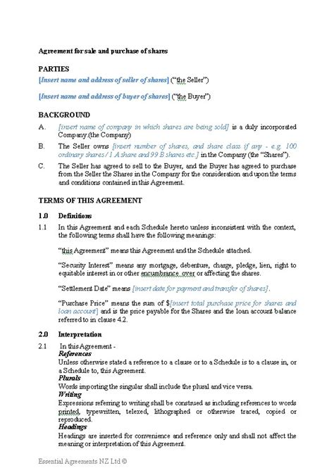 Free Printable Sale Contract Form Generic Purchase And Sale Agreement Template