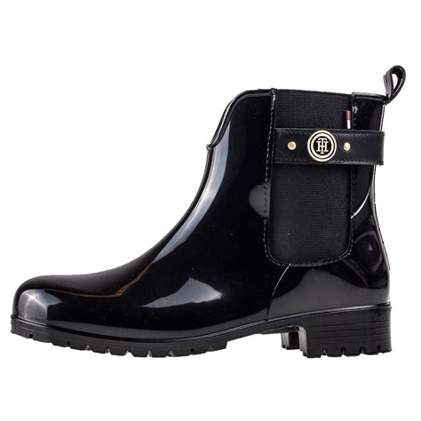 hilfiger oxley 13r patent womens chelsea boots in black