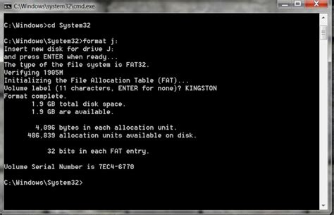 format fat32 in cmd on windows 7 how to format usb drive through command prompt windows 7