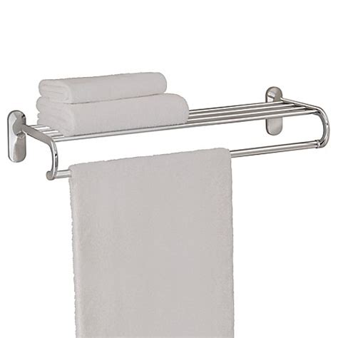 Chrome Bathroom Shelves For Towels Taymor 174 24 Inch European Towel Shelf In Chrome Bed Bath Beyond