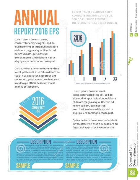 Annual Marketing Report Template Annual Report Template With Diagram Vector Illustration
