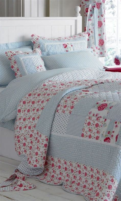 anne blue pink patchwork quilt bedspread bedrooms