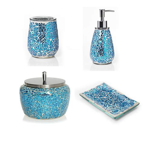 Mosaic Bathroom Accessories Aqua Mosaic Bathroom Accessories Soap Dispenser Trinket Box Tumbler Soap Dish Ebay