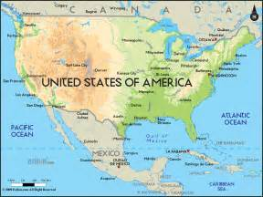 physical map of united states of america ezilon maps