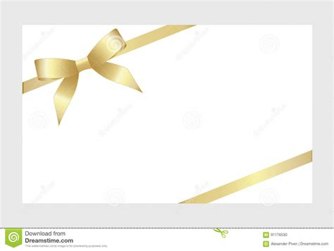 gold gift card template gift card with gold ribbon and a bow stock vector image