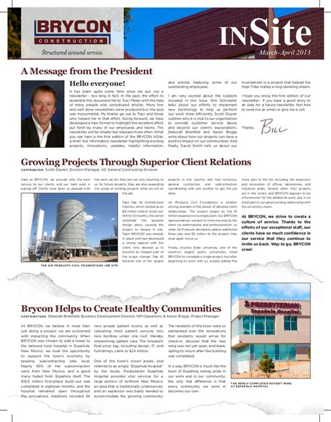 Employment News Letter The Inaugural Issue Of The Insite A Bi Monthly Employee Newsletter Created For Brycon