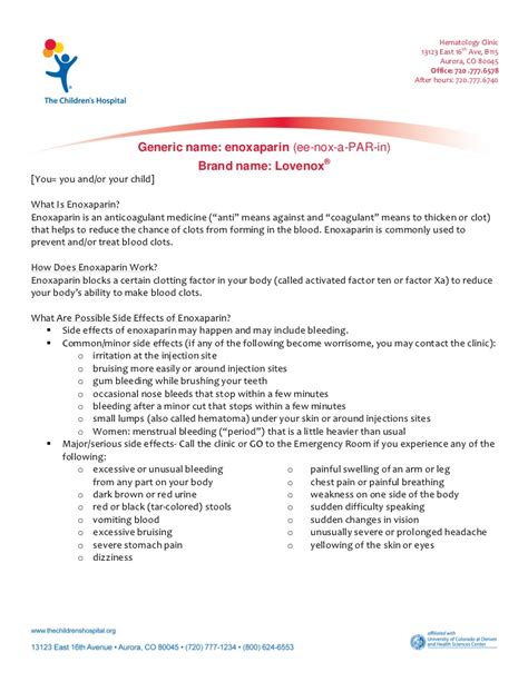 Lovenox Also Search For Enoxaparin Lovenox Patient Education Handout