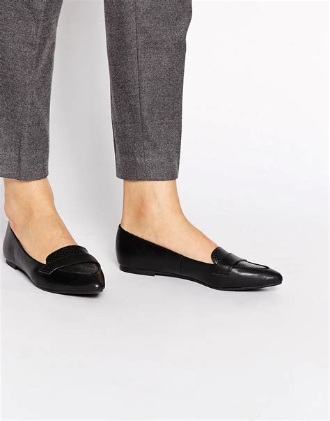 new look new look joan black croc pointed toe flat shoes