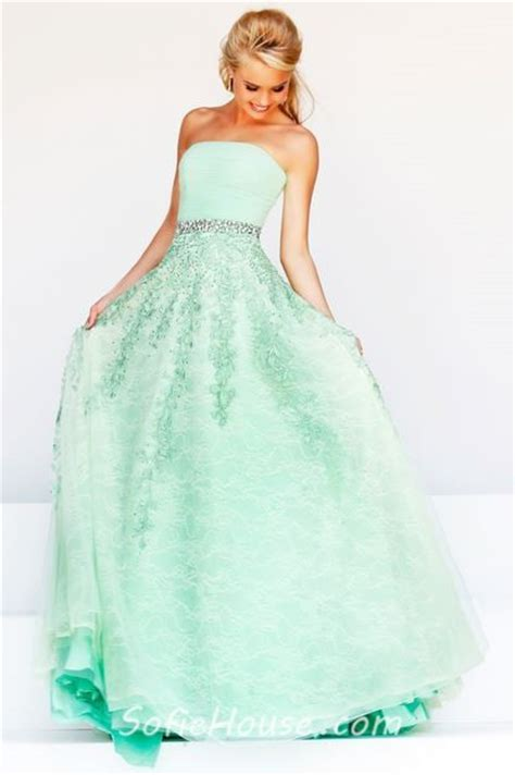 mint beaded dress a line strapless mint green tulle lace beaded