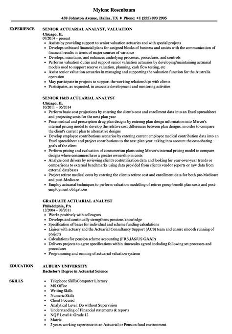 actuary resume template analyst actuarial resume sles velvet